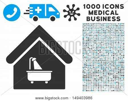 Bathroom icon with 1000 medical business gray and blue vector pictographs. Set style is flat bicolor symbols, white background.