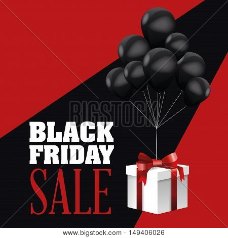 Balloons icon. Black Friday sale and offer theme. Black and red background. Vector illustration