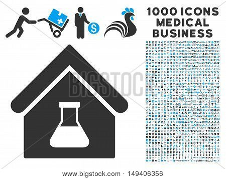 Chemical Labs Building icon with 1000 medical commercial gray and blue vector pictographs. Clipart style is flat bicolor symbols, white background.