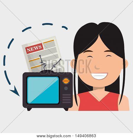 woman tv reportage news vector illustration eps 10