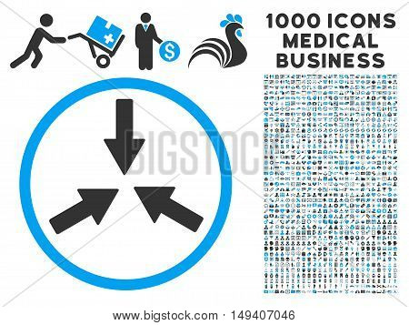 Collide Arrows icon with 1000 medical business gray and blue vector pictographs. Clipart style is flat bicolor symbols, white background.