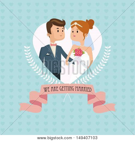 man and woman cartoon couple inside heart with ribbon icon. Wedding and marriage theme. Colorful design. Vector illustration