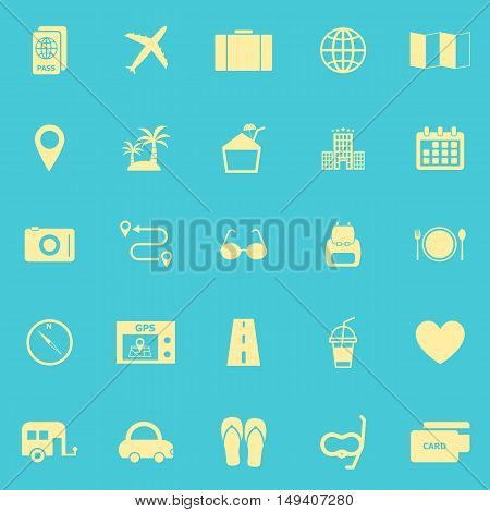 Trip color icons on blue background, stock vector