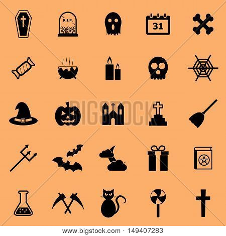 Halloween color icons on orange background, stock vector
