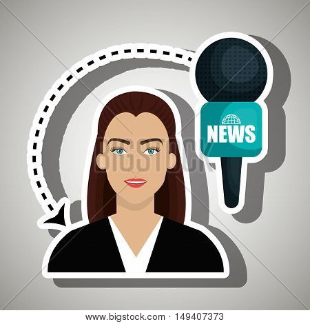 woman journalist news microphone vector illustration eps 10