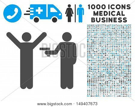 Crime Robbery icon with 1000 medical business gray and blue vector design elements. Clipart style is flat bicolor symbols, white background.