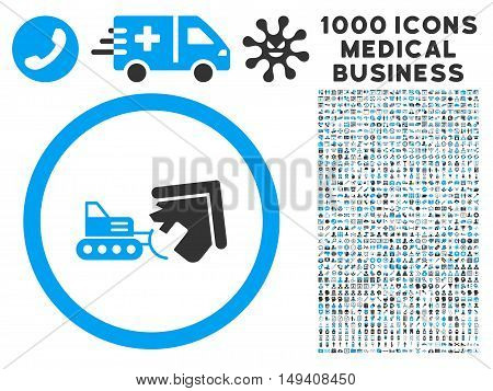 Demolition icon with 1000 medical business gray and blue vector design elements. Set style is flat bicolor symbols, white background.