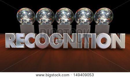 Recognition Awards Ceremony Appreciation Trophies 3d Illustration
