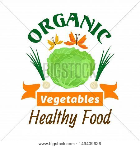 Cabbage. Organic healthy vegetables emblem. Premium healthy vegan food icon. White cabbage leaves, onion, butterflies. Vector vegetable icon for vegetarian product sticker, grocery, farm store, packaging, advertising tag