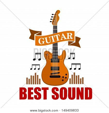 Guitar. Best sound musical emblem with vector icon of classic guitar, music notes and sound graphic equalizer