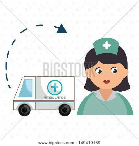nurse cartoon ambulance help vector illustration eps 10