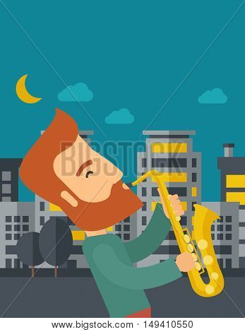 A caucasian saxophonist playing in the streets at night with moon and clouds.  flat design illustration. Vertical layout with text space on top part.