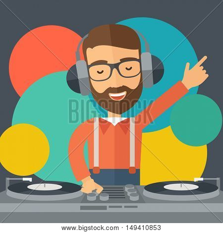 A caucasian disc jockey with headphone mixing music inside the studion room. A contemporary style with pastel palette black tinted and colorful round background.  flat design illustration. Square