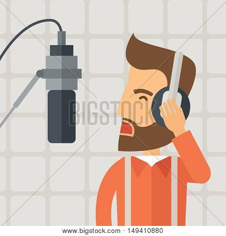 A caucasian radio DJ working in a radio station with headphone and microphone raising his voice. A Contemporary style with pastel palette, soft beige background.  flat design illustration. Square