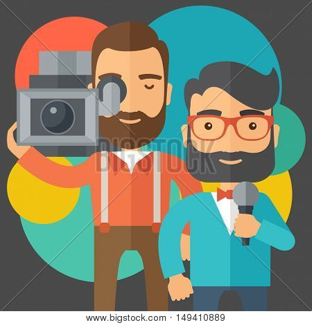 A professional caucasian journalist and news reporter with video camera and microphone broadcasting. A contemporary style with pastel palette black tinted and colorful round background.  flat design