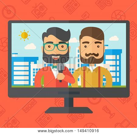 Breaking news in a televesion.  flat design illustration. Square layout.