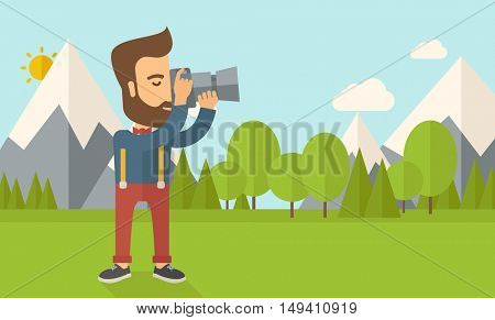 A Caucasian photographer taking a picture with the trees under the sun.   flat design illustration. Horizontal layout.