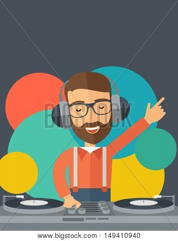 A caucasian disc jockey with headphone mixing music inside the studion room. A contemporary style with pastel palette black tinted and colorful round background.  flat design illustration. Vertical