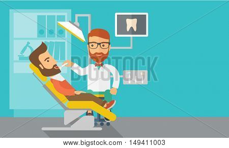 A caucasian dentist man examines a patient's teeth in the clinic. Contemporary style with pastel palette, blue tinted background.  flat design illustrations. Horizontal layout with text space in right