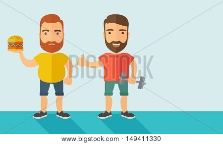 A two handsome caucasian men wearing shorts and sleeveless the yellow shirt with hamburger and the red shirt with dumbell. Contemporary style with pastel palette, soft blue tinted background.  flat