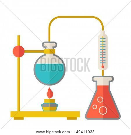 A laboratory glassware use for experiment.  A Contemporary style.  flat design illustration isolated white background. Square layout