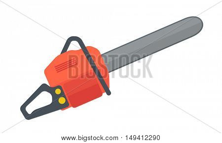 A heavy duty chainsaw used to cut, trim trees and firewood. A Contemporary style. flat design illustration isolated white background. Horizontal layout.