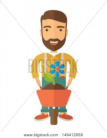 A man pushing a wheelbarrow carries a plant with flower. A Contemporary style. flat design illustration isolated white background. Vertical layout.