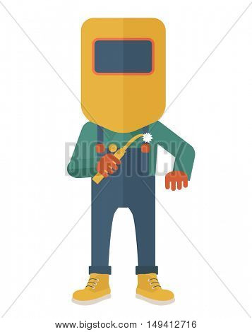 A worker wearing welding mask, protection for eyes use for welding a metal or steel. A Contemporary style. flat design illustration isolated white background. Vertical layout.