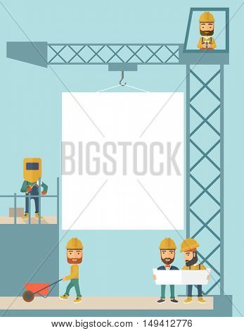 A experienced team workers with white board wearing helmets . A Contemporary style with pastel palette, soft blue tinted background. flat design illustration.Vertical layout.