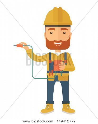 A young electrician holding a power cable plug. A Contemporary style. flat design illustration isolated white background. Vertical layout.