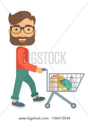 A male shopper pushing a shopping cart inside the supermarket. A contemporary style. flat design illustration with isolated white background. Vertical layout.
