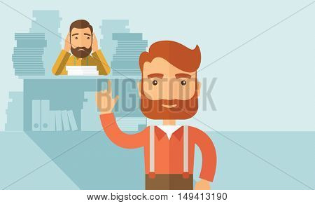 Two employees ,one happy walking ahead finished his task on time and the other is sad siitng and still working with those paper works on his table. Time management concept. A contemporary style with