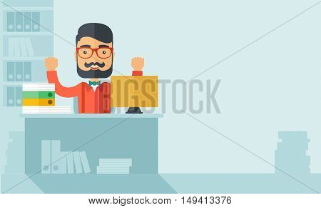 A very happy businessman with beard sitting while raising his both hand finished his work with laptop and paper works on time inside his office. Achievement concept. A contemporary style with pastel