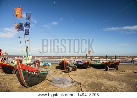 Hai Ly, Hai Hau, Vietnam - June 27, 2015: People are preparing for the fishing day at the Hai Ly beach