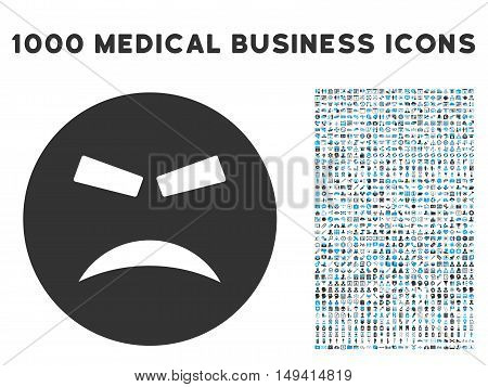 Furious icon with 1000 medical business gray and blue vector pictograms. Collection style is flat bicolor symbols, white background.