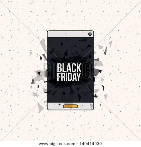 Smartphone and abstract icon. Black Friday sale technology and offer theme. Vector illustration