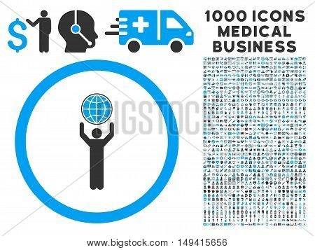 Globalist icon with 1000 medical commercial gray and blue vector design elements. Design style is flat bicolor symbols, white background.
