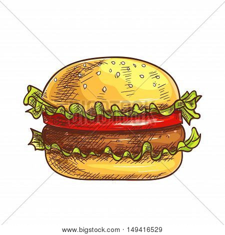 Hamburger fast food sketch icon. Vector burger, cheeseburger element for restaurant, eatery menu, signboard
