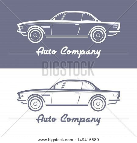 Design Concept with classic Germany style car silhouette on Light slate gray background. Vector illustration. Abstract retro car design.