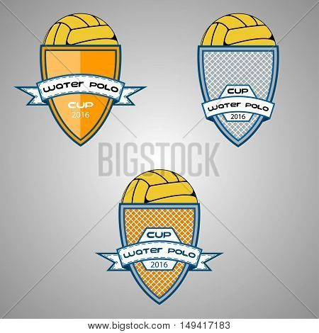 Set water polo logo for the team and the cup. vector illustration