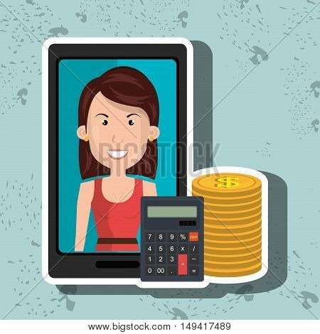 smartphone woman money coins vector illustration eps 10