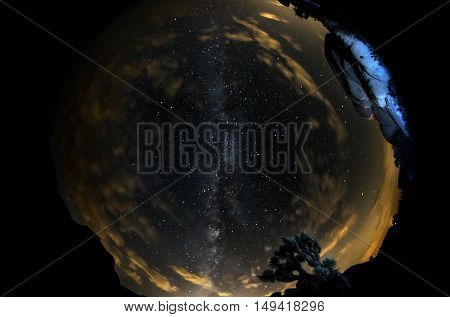 Parabolic view of the Milky Way Galaxy taken with a fisheye lens