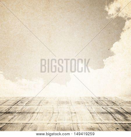 Wooden Floor With Sky Background