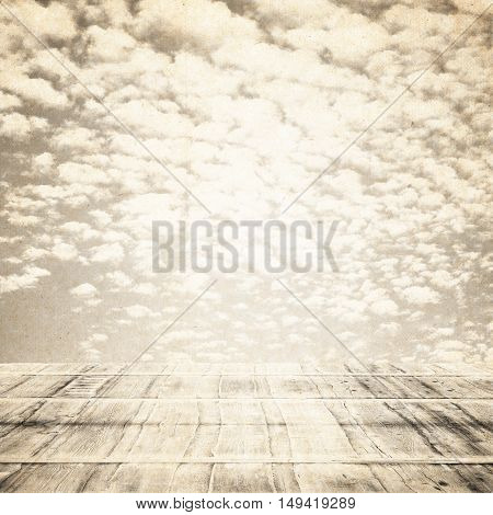 wooden floor with sky background.  old retro vintage style