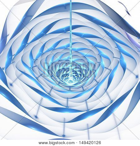 Abstract shining 3d flower on white background. Fantasy fractal design in bright blue and turquoise colors.