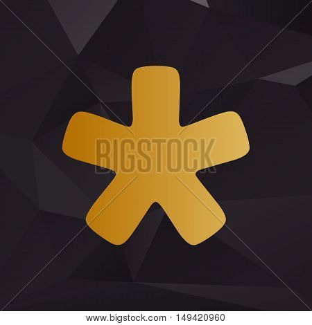 Asterisk Star Sign. Golden Style On Background With Polygons.