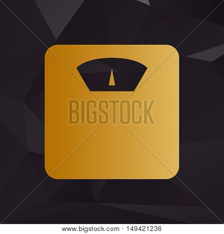 Bathroom Scale Sign. Golden Style On Background With Polygons.