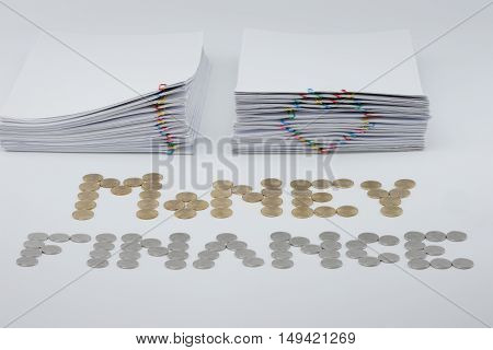 Pile Document With Colorful Paperclip
