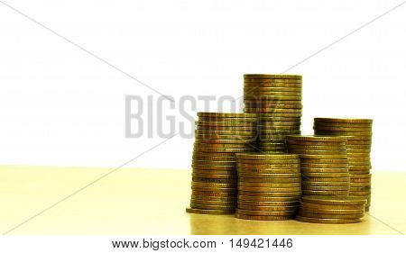 coins stack on white background business concept