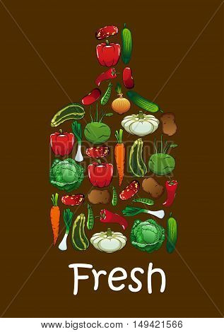 Fresh vegetables in shape of cutting board. Vector elements of zucchini, cabbage, carrot, onion, kohlrabi, pepper, potato, zucchini bean celery tomato